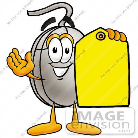 #24816 Clip Art Graphic of a Wired Computer Mouse Cartoon Character Holding a Yellow Sales Price Tag by toons4biz