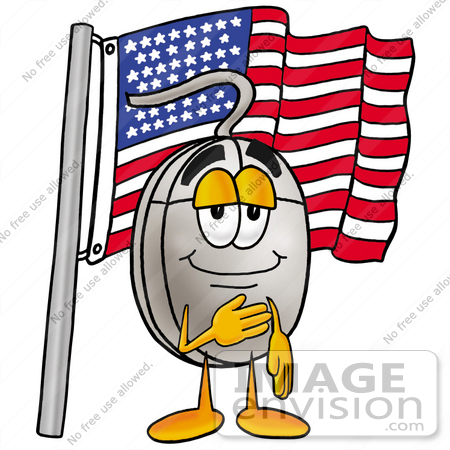 #24817 Clip Art Graphic of a Wired Computer Mouse Cartoon Character Pledging Allegiance to an American Flag by toons4biz