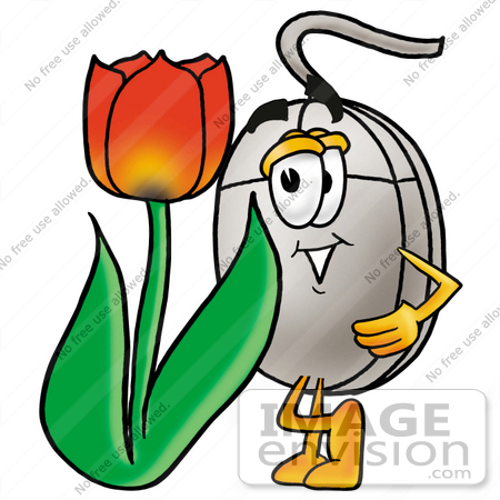 #24819 Clip Art Graphic of a Wired Computer Mouse Cartoon Character With a Red Tulip Flower in the Spring by toons4biz