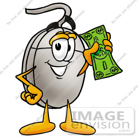 #24822 Clip Art Graphic of a Wired Computer Mouse Cartoon Character Holding a Dollar Bill by toons4biz