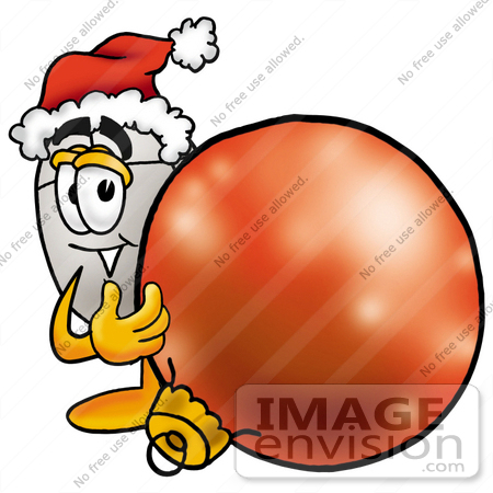 #24825 Clip Art Graphic of a Wired Computer Mouse Cartoon Character Wearing a Santa Hat, Standing With a Christmas Bauble by toons4biz