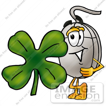 #24828 Clip Art Graphic of a Wired Computer Mouse Cartoon Character With a Green Four Leaf Clover on St Paddy's or St Patricks Day by toons4biz