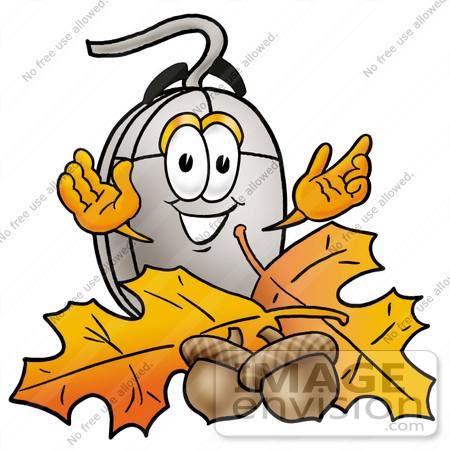 #24829 Clip Art Graphic of a Wired Computer Mouse Cartoon Character With Autumn Leaves and Acorns in the Fall by toons4biz