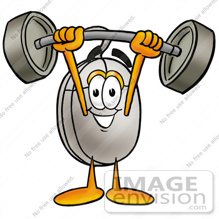 #24831 Clip Art Graphic of a Wired Computer Mouse Cartoon Character Holding a Heavy Barbell Above His Head by toons4biz