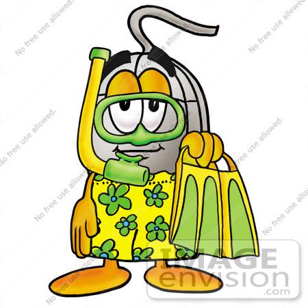 #24835 Clip Art Graphic of a Wired Computer Mouse Cartoon Character in Green and Yellow Snorkel Gear by toons4biz