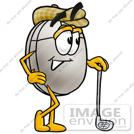 #24839 Clip Art Graphic of a Wired Computer Mouse Cartoon Character Leaning on a Golf Club While Golfing by toons4biz