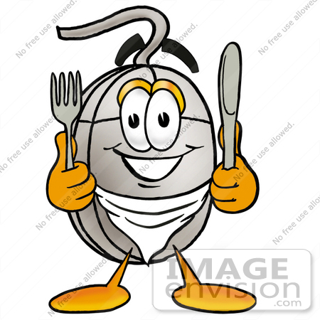#24841 Clip Art Graphic of a Wired Computer Mouse Cartoon Character Holding a Knife and Fork by toons4biz