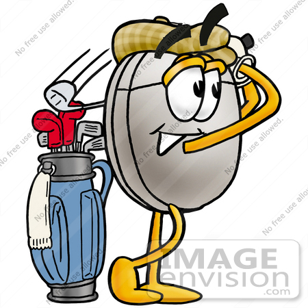 #24842 Clip Art Graphic of a Wired Computer Mouse Cartoon Character Swinging His Golf Club While Golfing by toons4biz