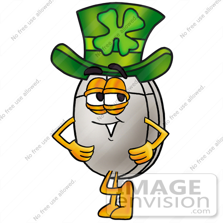 #24849 Clip Art Graphic of a Wired Computer Mouse Cartoon Character Wearing a Saint Patricks Day Hat With a Clover on it by toons4biz