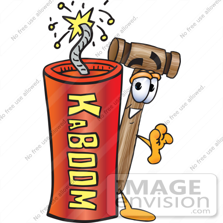 #24865 Clip Art Graphic of a Wooden Mallet Cartoon Character Standing With a Lit Stick of Dynamite by toons4biz