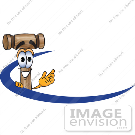 #24887 Clip Art Graphic of a Wooden Mallet Cartoon Character Logo With a Blue Dash by toons4biz