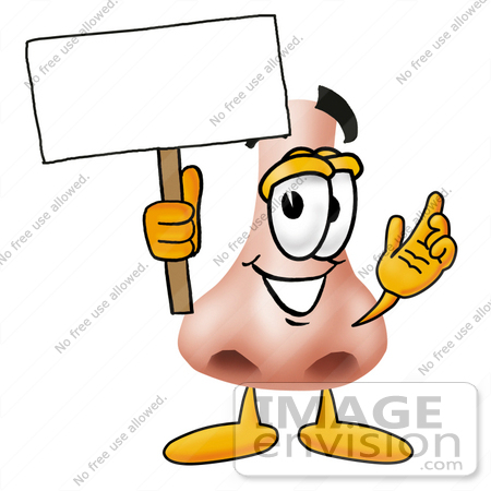 #24900 Clip Art Graphic of a Human Nose Cartoon Character Holding a Blank Sign by toons4biz