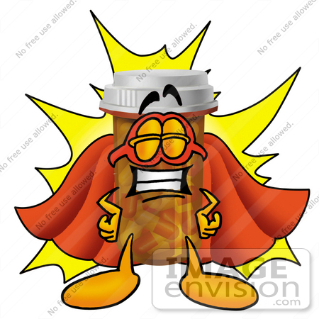 #24924 Clip Art Graphic of a Medication Prescription Pill Bottle Cartoon Character Dressed as a Super Hero by toons4biz