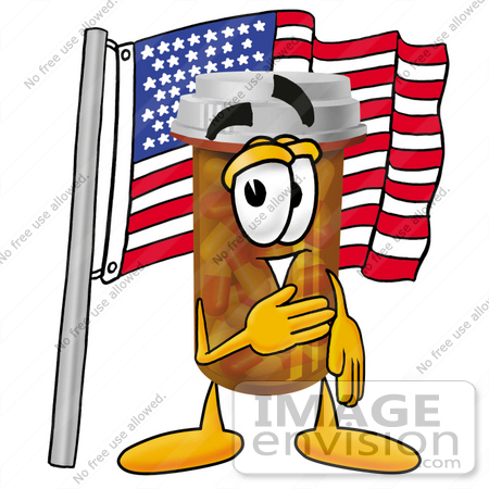 #24927 Clip Art Graphic of a Medication Prescription Pill Bottle Cartoon Character Pledging Allegiance to an American Flag by toons4biz