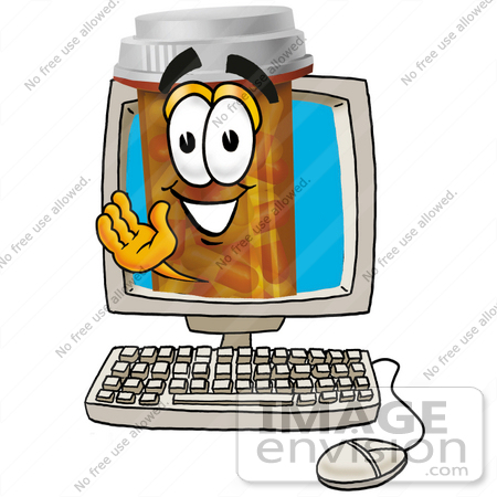 #24929 Clip Art Graphic of a Medication Prescription Pill Bottle Cartoon Character Waving From Inside a Computer Screen by toons4biz