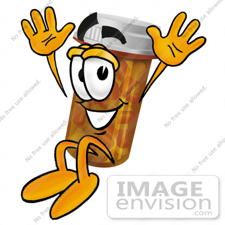 #24930 Clip Art Graphic of a Medication Prescription Pill Bottle Cartoon Character Jumping by toons4biz