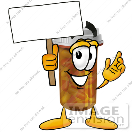 #24932 Clip Art Graphic of a Medication Prescription Pill Bottle Cartoon Character Holding a Blank Sign by toons4biz