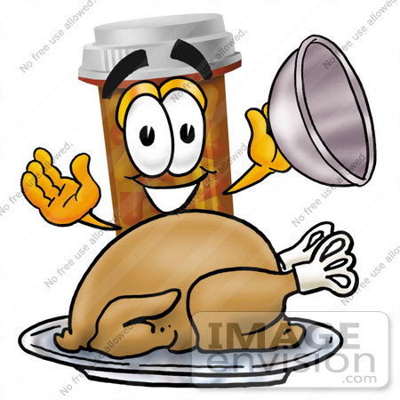 #24938 Clip Art Graphic of a Medication Prescription Pill Bottle Cartoon Character Serving a Thanksgiving Turkey on a Platter by toons4biz