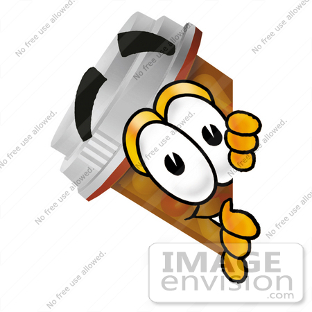 #24941 Clip Art Graphic of a Medication Prescription Pill Bottle Cartoon Character Peeking Around a Corner by toons4biz