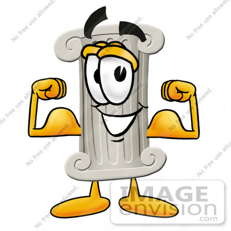 #24948 Clip Art Graphic of a Pillar Cartoon Character Flexing His Arm Muscles by toons4biz