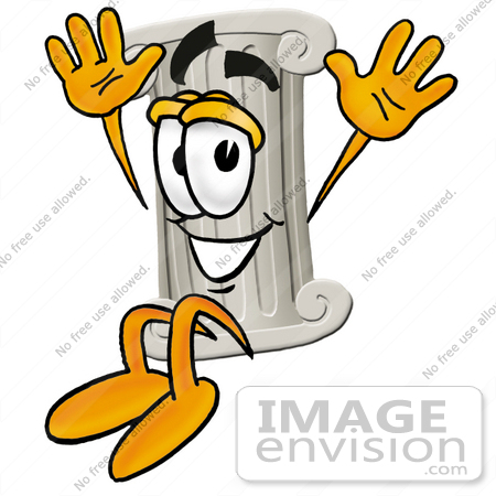 #24952 Clip Art Graphic of a Pillar Cartoon Character Jumping by toons4biz