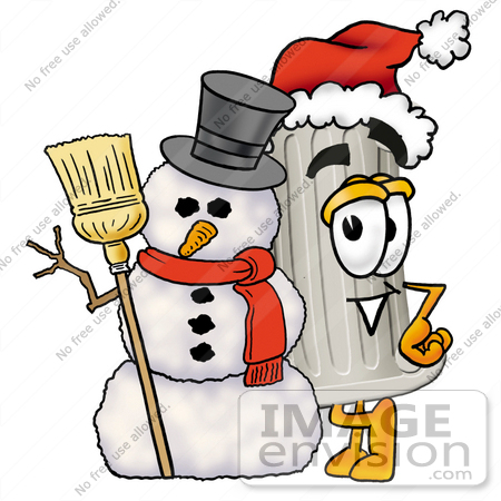 #24967 Clip Art Graphic of a Pillar Cartoon Character With a Snowman on Christmas by toons4biz