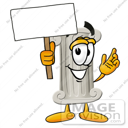 #24968 Clip Art Graphic of a Pillar Cartoon Character Holding a Blank Sign by toons4biz