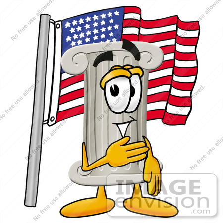 #24969 Clip Art Graphic of a Pillar Cartoon Character Pledging Allegiance to an American Flag by toons4biz