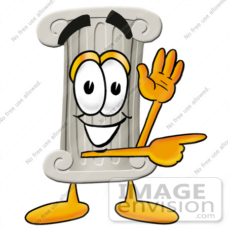 #24971 Clip Art Graphic of a Pillar Cartoon Character Waving and Pointing by toons4biz