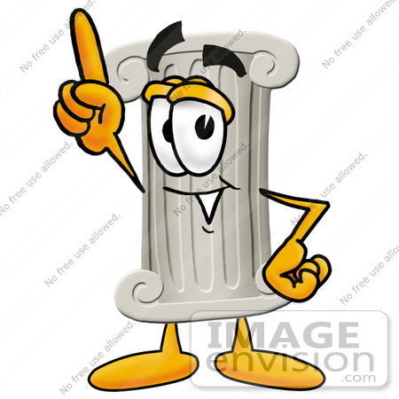 #24972 Clip Art Graphic of a Pillar Cartoon Character Pointing Upwards by toons4biz
