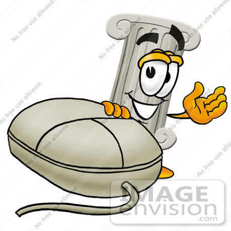 #24973 Clip Art Graphic of a Pillar Cartoon Character With a Computer Mouse by toons4biz