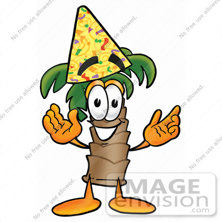 #25032 Clip Art Graphic of a Tropical Palm Tree Cartoon Character Wearing a Birthday Party Hat by toons4biz