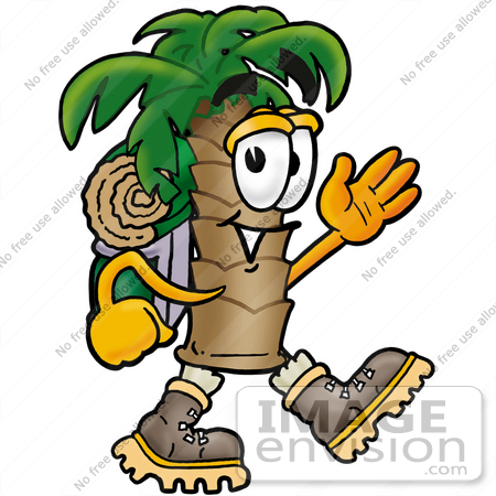 #25038 Clip Art Graphic of a Tropical Palm Tree Cartoon Character Hiking and Carrying a Backpack by toons4biz
