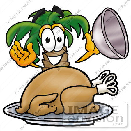 #25041 Clip Art Graphic of a Tropical Palm Tree Cartoon Character Serving a Thanksgiving Turkey on a Platter by toons4biz
