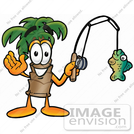 #25042 Clip Art Graphic of a Tropical Palm Tree Cartoon Character Holding a Fish on a Fishing Pole by toons4biz