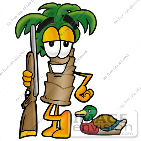 #25044 Clip Art Graphic of a Tropical Palm Tree Cartoon Character Duck Hunting, Standing With a Rifle and Duck by toons4biz