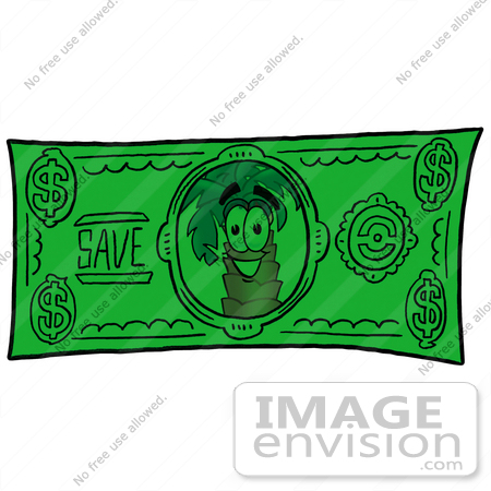 #25046 Clip Art Graphic of a Tropical Palm Tree Cartoon Character on a Dollar Bill by toons4biz