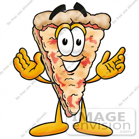 #25052 Clip Art Graphic of a Cheese Pizza Slice Cartoon Character With