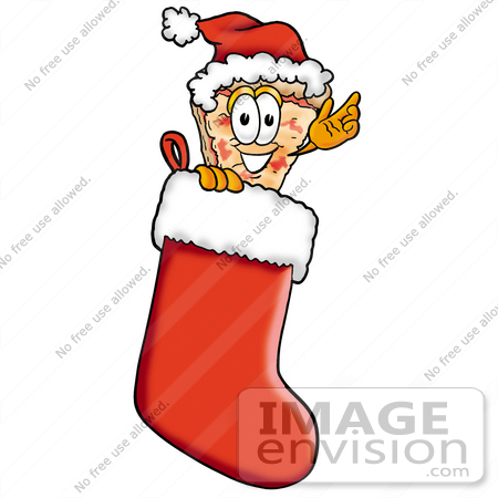 #25055 Clip Art Graphic of a Cheese Pizza Slice Cartoon Character Wearing a Santa Hat Inside a Red Christmas Stocking by toons4biz