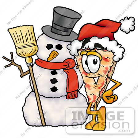 #25059 Clip Art Graphic of a Cheese Pizza Slice Cartoon Character With a Snowman on Christmas by toons4biz