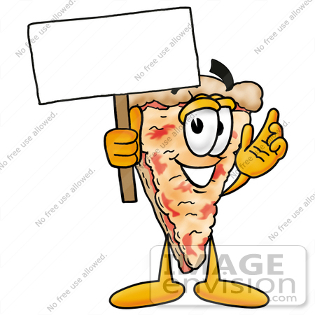 #25060 Clip Art Graphic of a Cheese Pizza Slice Cartoon Character Holding a Blank Sign by toons4biz