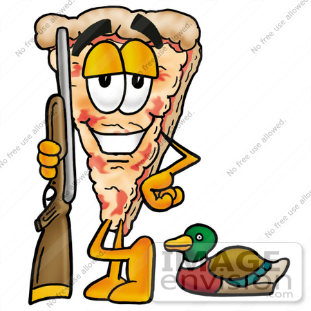 #25065 Clip Art Graphic of a Cheese Pizza Slice Cartoon Character Duck Hunting, Standing With a Rifle and Duck by toons4biz