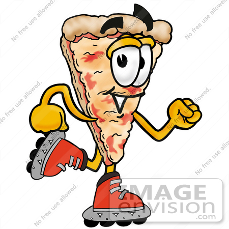 #25084 Clip Art Graphic of a Cheese Pizza Slice Cartoon Character Roller Blading on Inline Skates by toons4biz