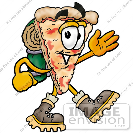 clip art graphic of a cheese pizza slice cartoon character hiking rh imageenvision com hitchhiker clipart hiker clipart free