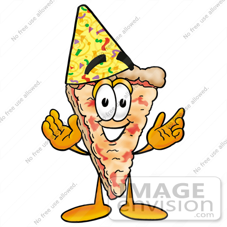 Clip Art Graphic of a Cheese Pizza Slice Cartoon Character Wearing a