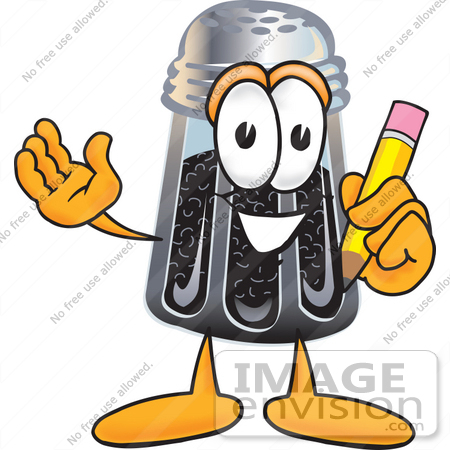 #25138 Clip Art Graphic of a Ground Pepper Shaker Cartoon Character Holding a Pencil by toons4biz