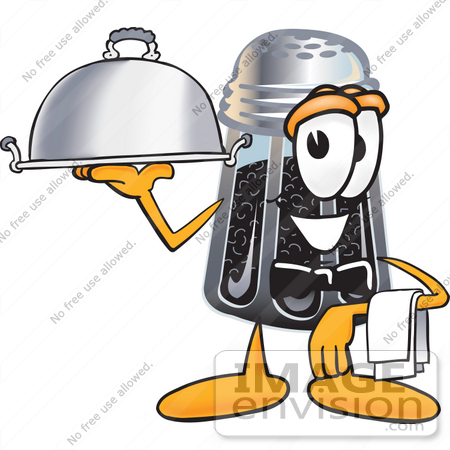#25140 Clip Art Graphic of a Ground Pepper Shaker Cartoon Character Dressed as a Waiter and Holding a Serving Platter by toons4biz