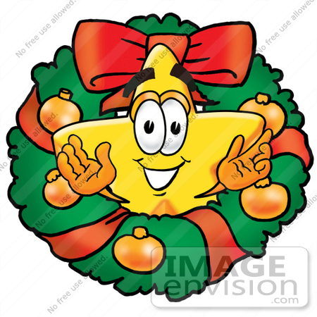 #25193 Clip Art Graphic of a Yellow Star Cartoon Character in the Center of a Christmas Wreath by toons4biz