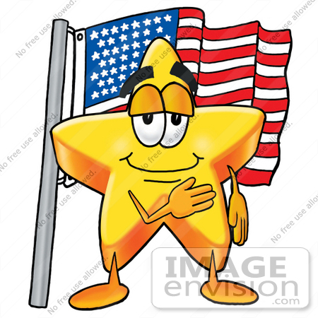 #25197 Clip Art Graphic of a Yellow Star Cartoon Character Pledging Allegiance to an American Flag by toons4biz