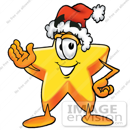 #25200 Clip Art Graphic of a Yellow Star Cartoon Character Wearing a Santa Hat and Waving by toons4biz